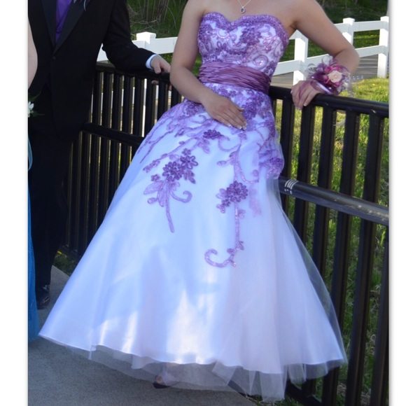 Dresses White Prom Dress With Purple Details Poshmark